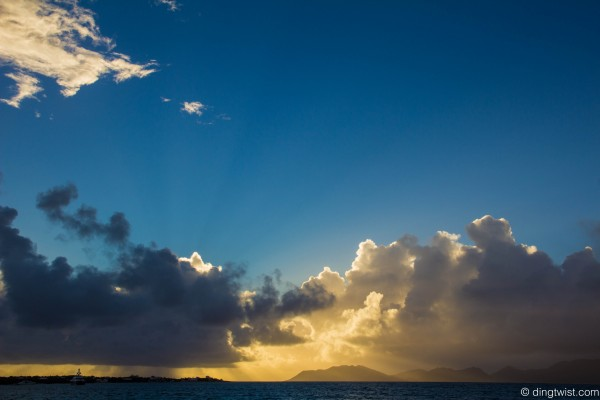 Sunrise through a Rainstorm with Rays Anguilla