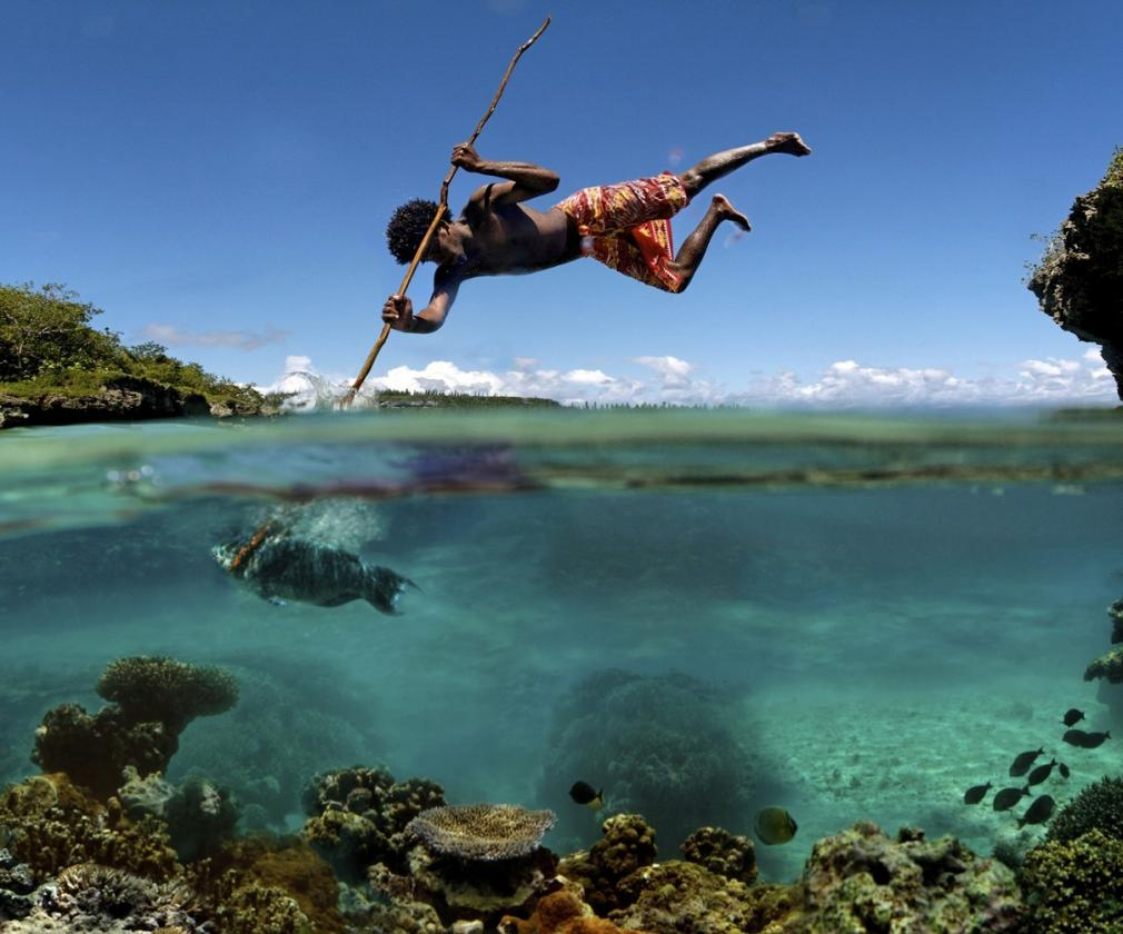flying through the air spear fishing